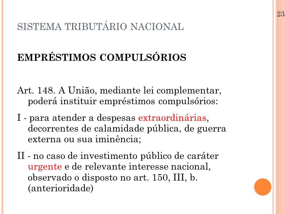SISTEMA TRIBUTÁRIO NACIONAL EMPRÉSTIMOS COMPULSÓRIOS Art. 148. A União, mediante lei complementar, poderá instituir empréstimos compulsórios: I - para