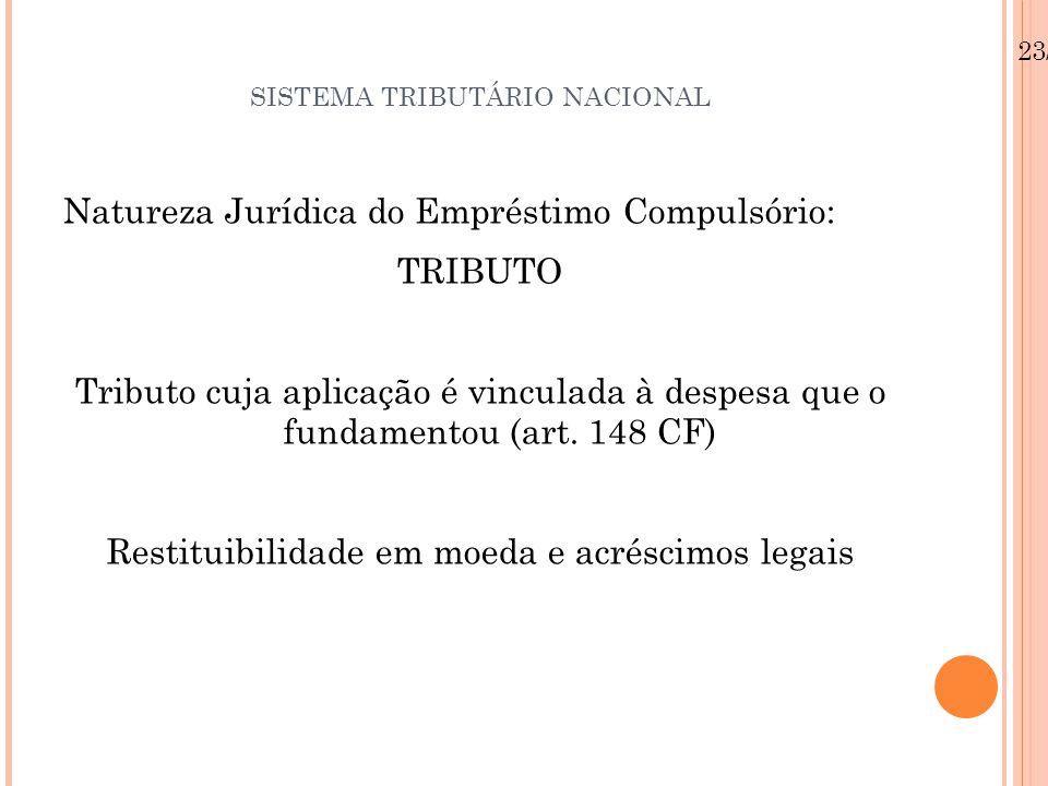 SISTEMA TRIBUTÁRIO NACIONAL Natureza Jurídica do Empréstimo Compulsório: TRIBUTO Tributo cuja aplicação é vinculada à despesa que o fundamentou (art.