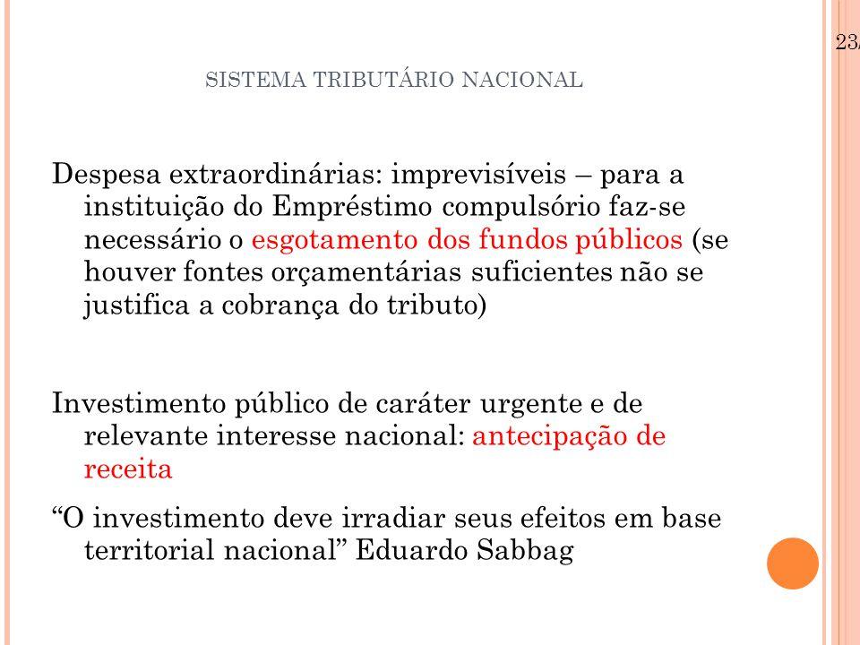 SISTEMA TRIBUTÁRIO NACIONAL Despesa extraordinárias: imprevisíveis – para a instituição do Empréstimo compulsório faz-se necessário o esgotamento dos