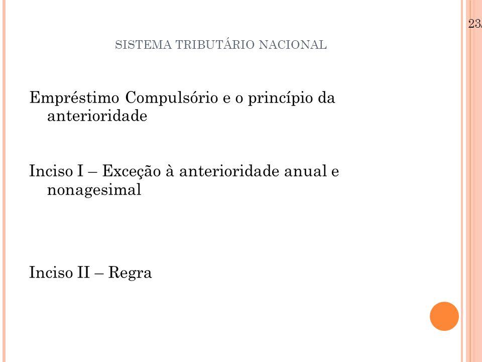 SISTEMA TRIBUTÁRIO NACIONAL Empréstimo Compulsório e o princípio da anterioridade Inciso I – Exceção à anterioridade anual e nonagesimal Inciso II – R