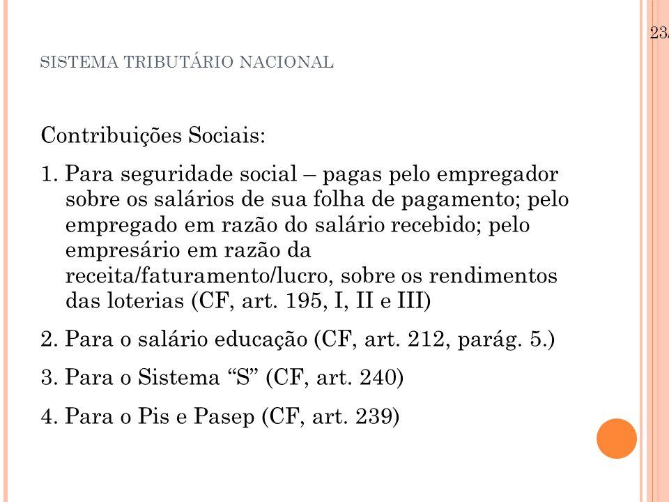 SISTEMA TRIBUTÁRIO NACIONAL Contribuições Sociais: 1. Para seguridade social – pagas pelo empregador sobre os salários de sua folha de pagamento; pelo
