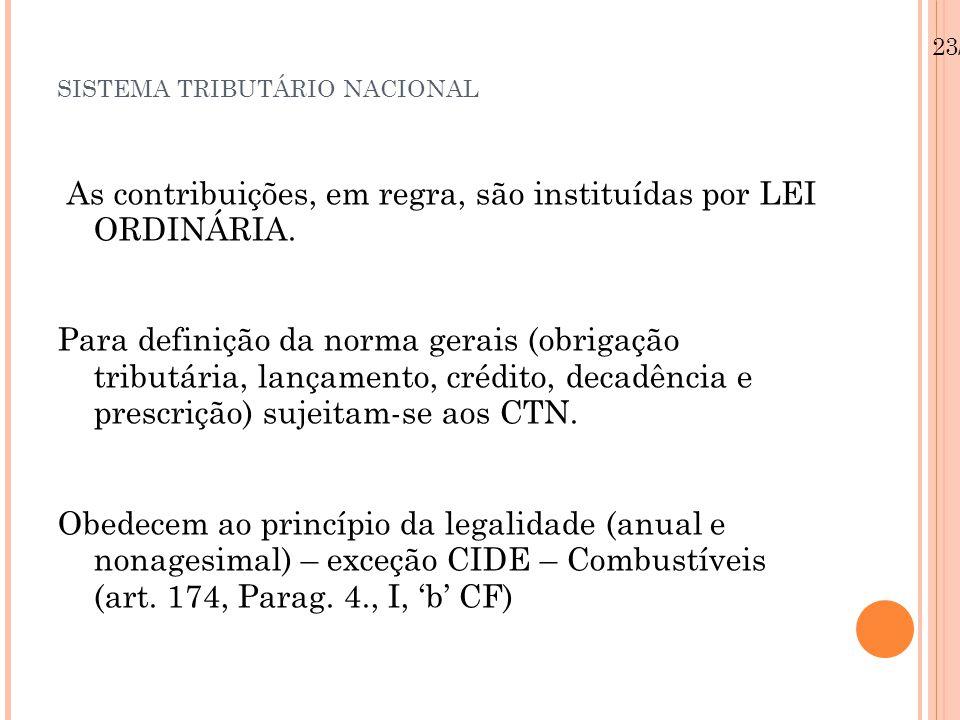 SISTEMA TRIBUTÁRIO NACIONAL As contribuições, em regra, são instituídas por LEI ORDINÁRIA. Para definição da norma gerais (obrigação tributária, lança