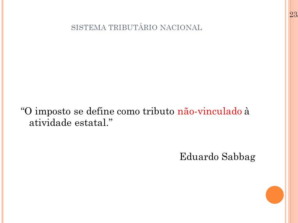 """SISTEMA TRIBUTÁRIO NACIONAL """"O imposto se define como tributo não-vinculado à atividade estatal."""" Eduardo Sabbag 23/08/12"""