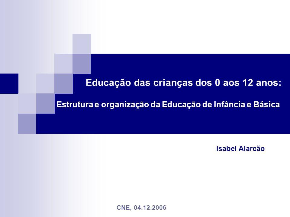 Educação das crianças dos 0 aos 12 anos: Estrutura e organização da Educação de Infância e Básica Isabel Alarcão CNE, 04.12.2006
