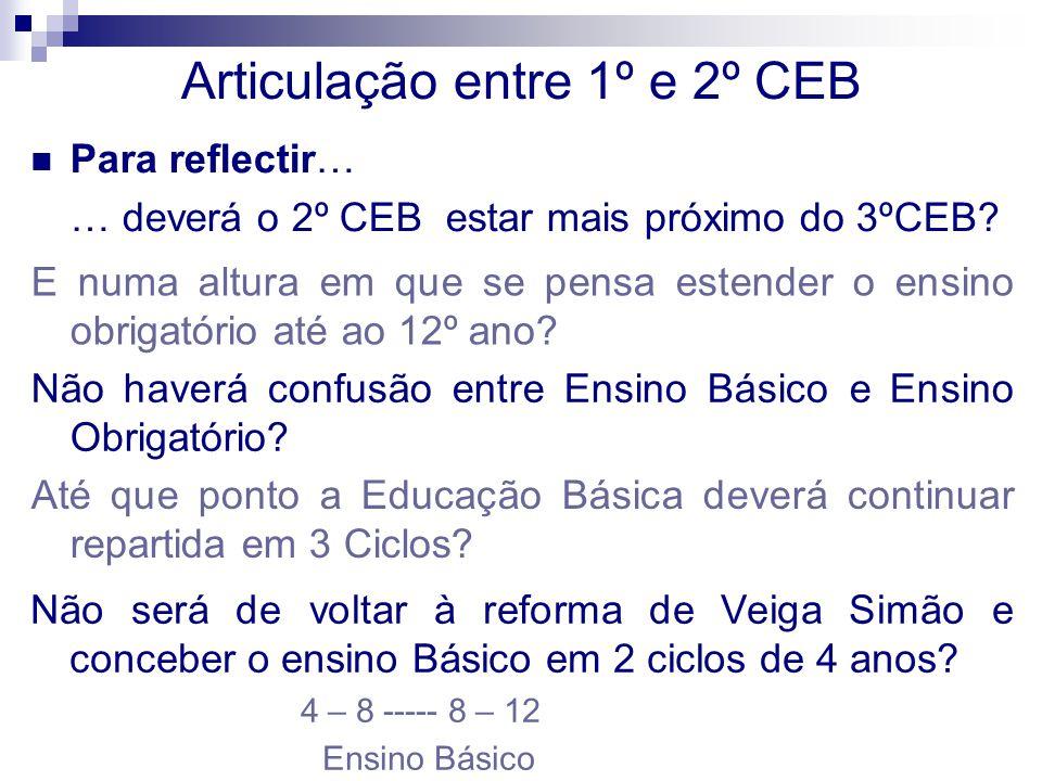 Articulação entre 1º e 2º CEB Para reflectir… … deverá o 2º CEB estar mais próximo do 3ºCEB? E numa altura em que se pensa estender o ensino obrigatór
