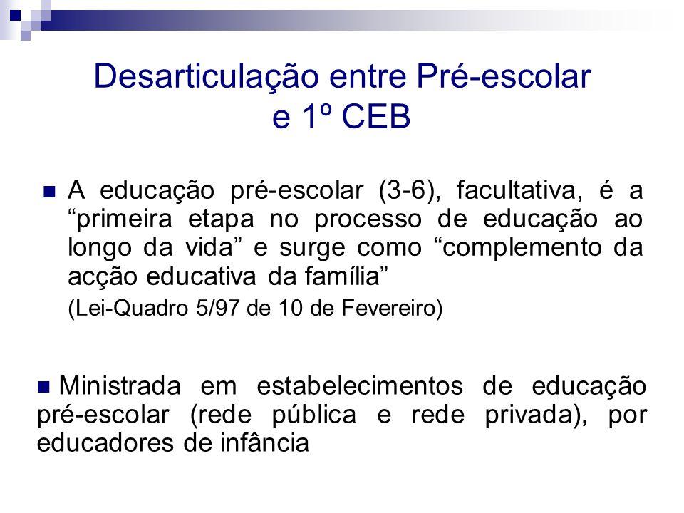 """Desarticulação entre Pré-escolar e 1º CEB A educação pré-escolar (3-6), facultativa, é a """"primeira etapa no processo de educação ao longo da vida"""" e s"""