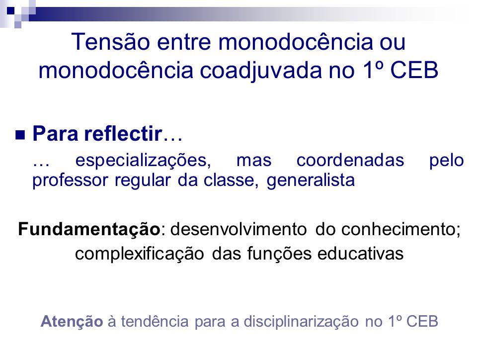 Tensão entre monodocência ou monodocência coadjuvada no 1º CEB Para reflectir… … especializações, mas coordenadas pelo professor regular da classe, ge