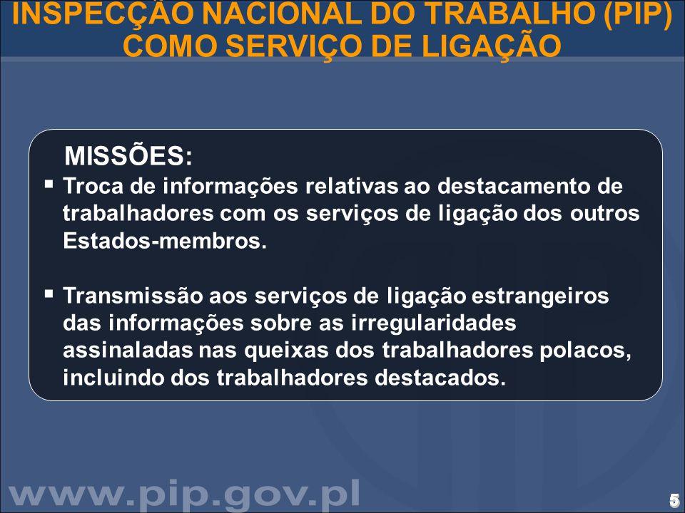 6666666666666666666666666666 INSPECÇÃO NACIONAL DO TRABALHO (PIP) COMO SERVIÇO DE LIGAÇÃO MISSÕES (continuação) :  Cooperação com as autoridades, administrações e instituições polacas.