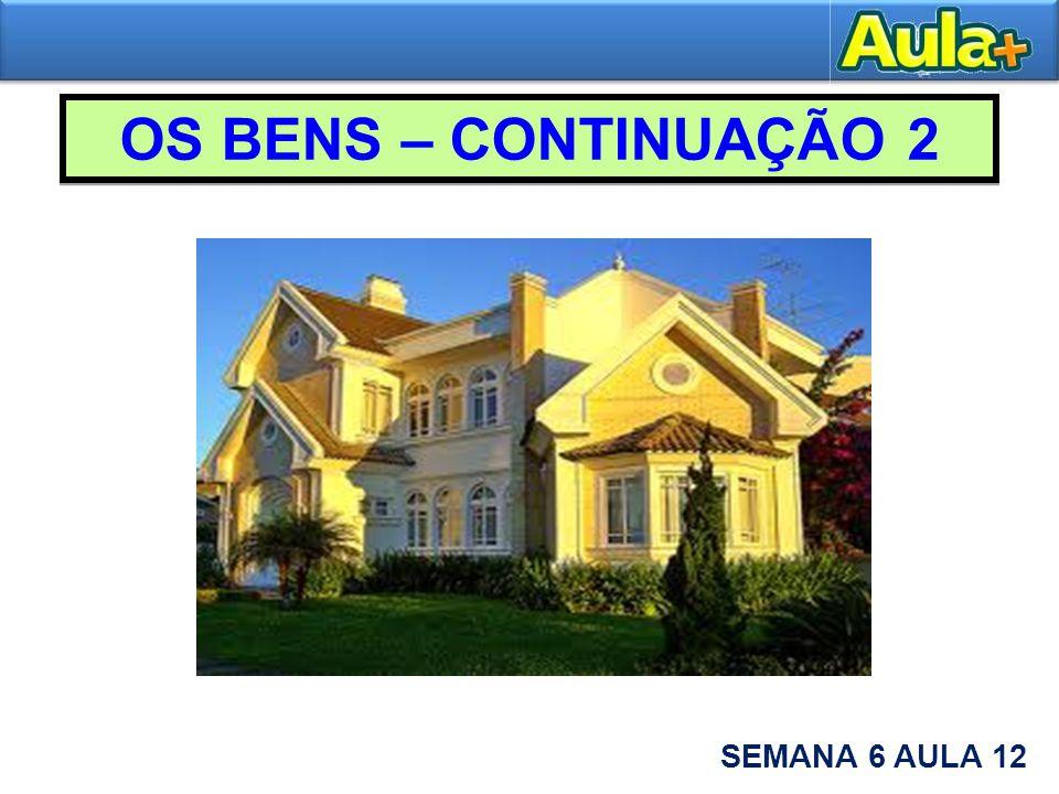 2 – OS BENS CONSIDERADOS EM SI MESMOS – continuação 2.1 Bens móveis e imóveis.