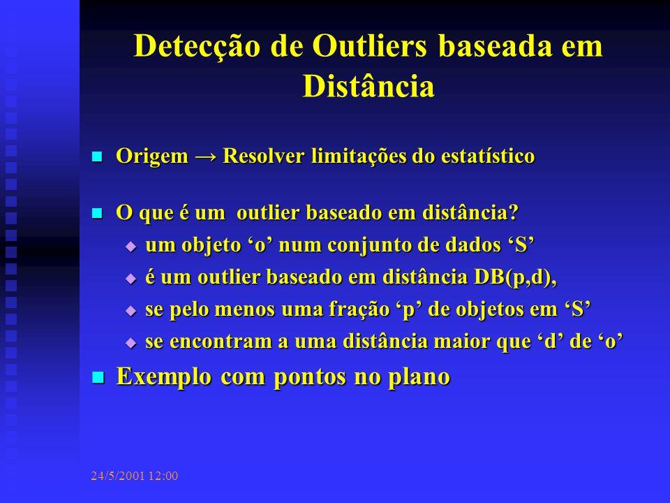 24/5/2001 12:00 Detecção de Outliers baseada em Distância Origem → Resolver limitações do estatístico Origem → Resolver limitações do estatístico O que é um outlier baseado em distância.