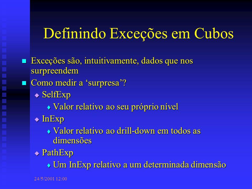 24/5/2001 12:00 Definindo Exceções em Cubos Exceções são, intuitivamente, dados que nos surpreendem Exceções são, intuitivamente, dados que nos surpreendem Como medir a 'surpresa'.