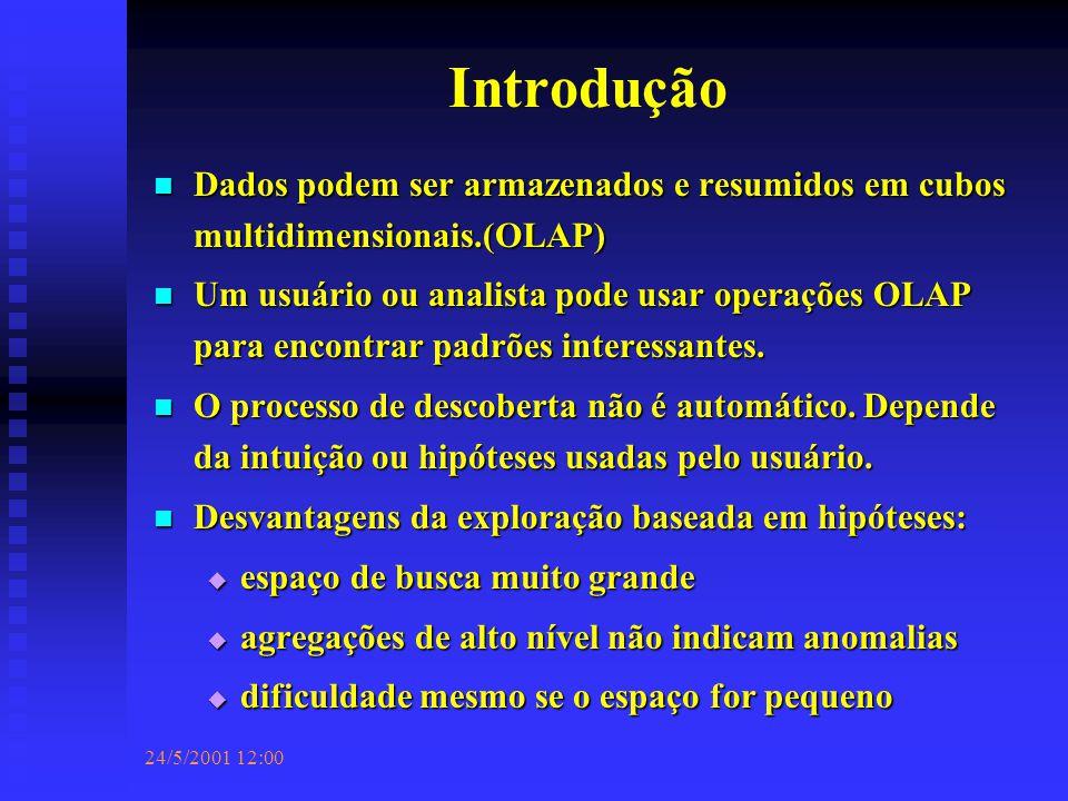 24/5/2001 12:00 Introdução Dados podem ser armazenados e resumidos em cubos multidimensionais.(OLAP) Dados podem ser armazenados e resumidos em cubos multidimensionais.(OLAP) Um usuário ou analista pode usar operações OLAP para encontrar padrões interessantes.