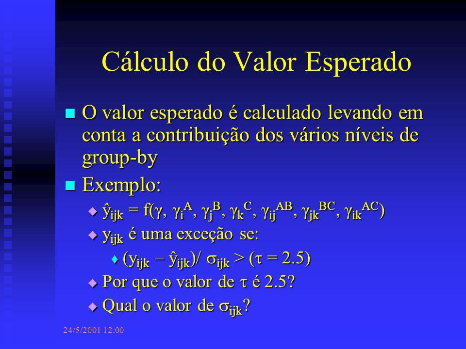 24/5/2001 12:00 Cálculo do Valor Esperado O valor esperado é calculado levando em conta a contribuição dos vários níveis de group-by O valor esperado é calculado levando em conta a contribuição dos vários níveis de group-by Exemplo: Exemplo:  ŷ ijk = f(γ, γ i A, γ j B, γ k C, γ ij AB, γ jk BC, γ ik AC )  y ijk é uma exceção se:  (y ijk – ŷ ijk )/  ijk > (  = 2.5)  Por que o valor de  é 2.5.