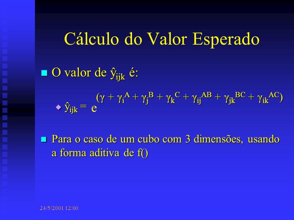 24/5/2001 12:00 Cálculo do Valor Esperado O valor de ŷ ijk é: O valor de ŷ ijk é:  ŷ ijk = Para o caso de um cubo com 3 dimensões, usando a forma aditiva de f() Para o caso de um cubo com 3 dimensões, usando a forma aditiva de f() e (γ + γ i A + γ j B + γ k C + γ ij AB + γ jk BC + γ ik AC )