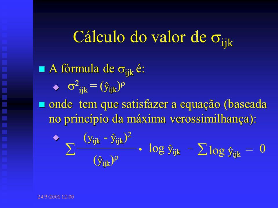 24/5/2001 12:00 Cálculo do valor de  ijk A fórmula de  ijk é: A fórmula de  ijk é:  onde tem que satisfazer a equação (baseada no princípio da máxima verossimilhança): onde tem que satisfazer a equação (baseada no princípio da máxima verossimilhança):  ŷ ijk  2 ijk = ( ŷ ijk )   y ijk ŷ ijk ( y ijk - ŷ ijk ) 2 ŷ ijk ( ŷ ijk )  ŷ ijk log ŷ ijk  0