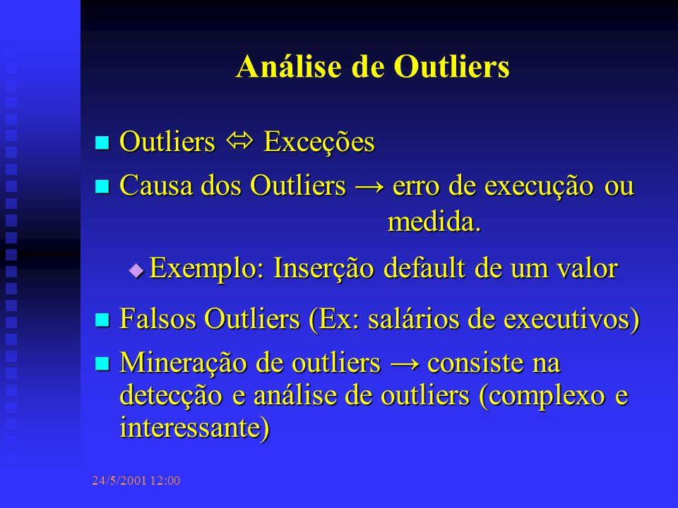 24/5/2001 12:00 Análise de Outliers Outliers  Exceções Outliers  Exceções Causa dos Outliers → erro de execução ou medida.