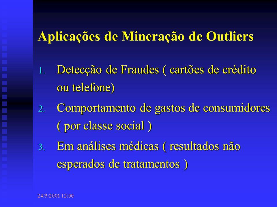 24/5/2001 12:00 Aplicações de Mineração de Outliers 1.