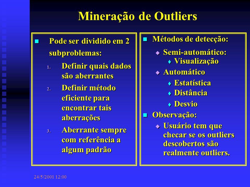 24/5/2001 12:00 Mineração de Outliers Pode ser dividido em 2 subproblemas: Pode ser dividido em 2 subproblemas: 1.