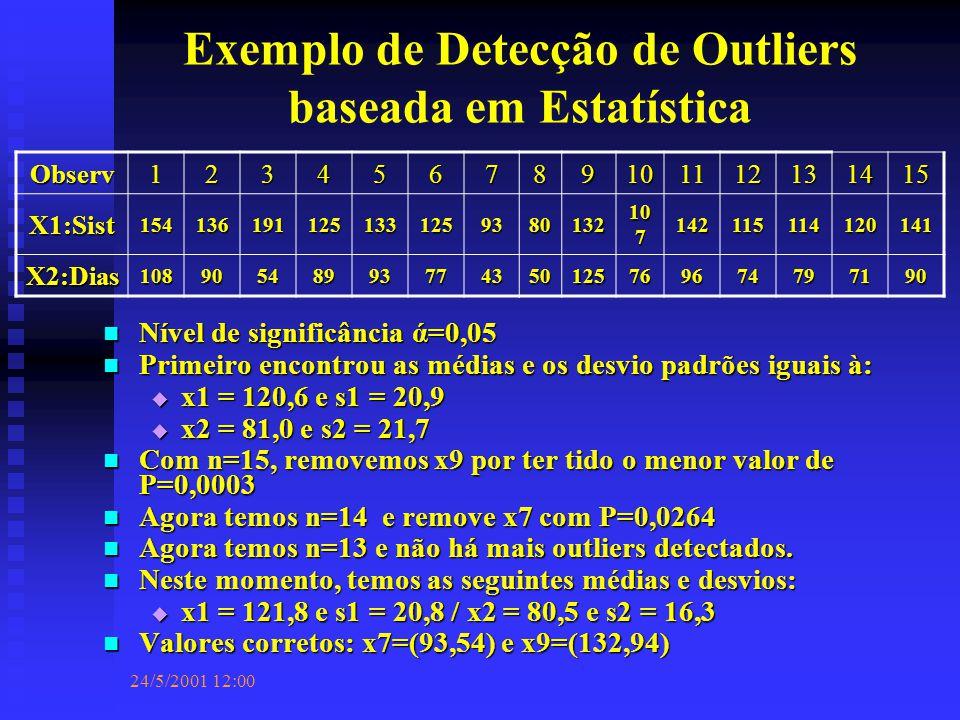 24/5/2001 12:00 Exemplo de Detecção de Outliers baseada em Estatística Nível de significância ά=0,05 Nível de significância ά=0,05 Primeiro encontrou as médias e os desvio padrões iguais à: Primeiro encontrou as médias e os desvio padrões iguais à:  x1 = 120,6 e s1 = 20,9  x2 = 81,0 e s2 = 21,7 Com n=15, removemos x9 por ter tido o menor valor de P=0,0003 Com n=15, removemos x9 por ter tido o menor valor de P=0,0003 Agora temos n=14 e remove x7 com P=0,0264 Agora temos n=14 e remove x7 com P=0,0264 Agora temos n=13 e não há mais outliers detectados.