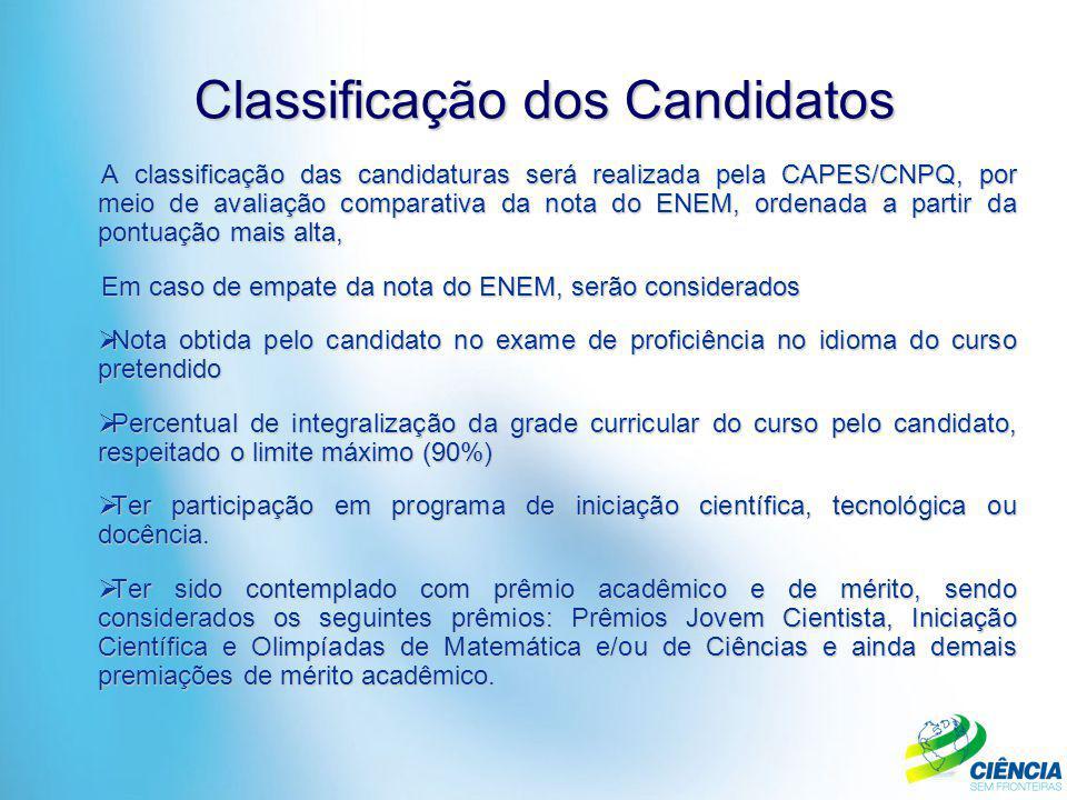 A classificação das candidaturas será realizada pela CAPES/CNPQ, por meio de avaliação comparativa da nota do ENEM, ordenada a partir da pontuação mai