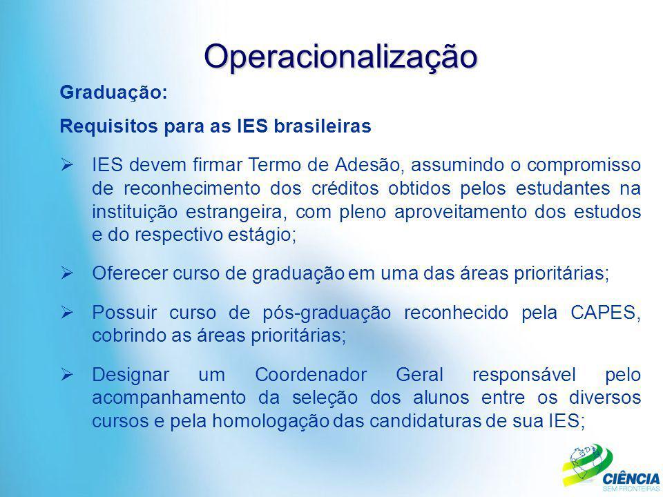 Operacionalização Graduação: Requisitos para as IES brasileiras  IES devem firmar Termo de Adesão, assumindo o compromisso de reconhecimento dos créd