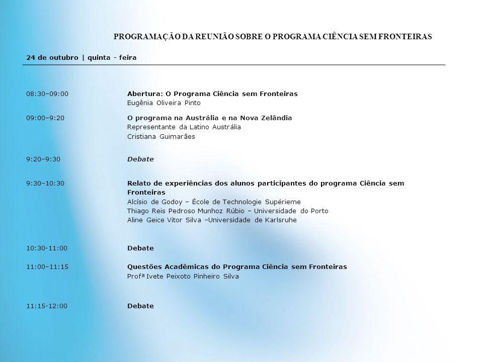 24 de outubro | quinta - feira 08:30–09:00 Abertura: O Programa Ciência sem Fronteiras Eugênia Oliveira Pinto 09:00–9:20 O programa na Austrália e na