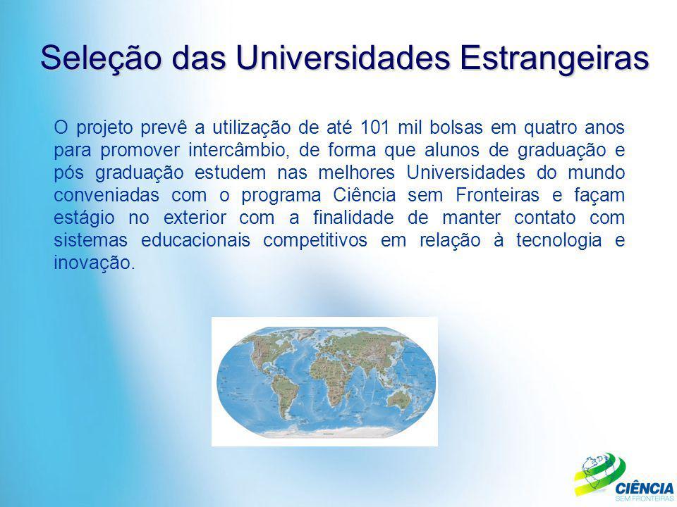 Seleção das Universidades Estrangeiras O projeto prevê a utilização de até 101 mil bolsas em quatro anos para promover intercâmbio, de forma que aluno
