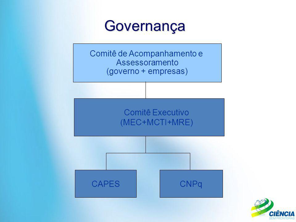 Governança CAPESCNPq Comitê de Acompanhamento e Assessoramento (governo + empresas) Comitê Executivo (MEC+MCTI+MRE)