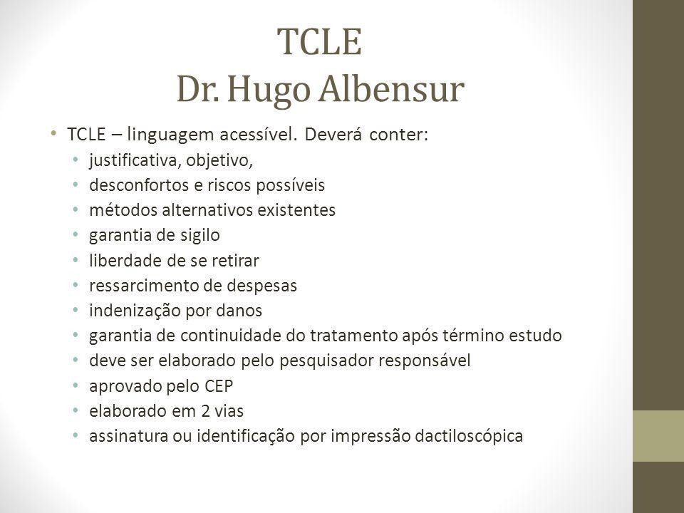 TCLE Dr.Hugo Albensur TCLE – linguagem acessível.