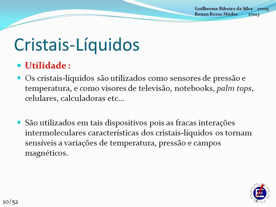 Cristais-Líquidos Utilidade : Os cristais-líquidos são utilizados como sensores de pressão e temperatura, e como visores de televisão, notebooks, palm