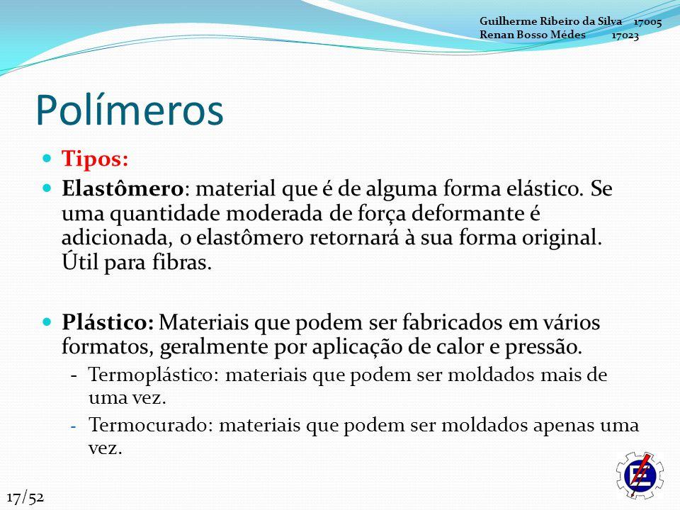 Polímeros Tipos: Elastômero: material que é de alguma forma elástico. Se uma quantidade moderada de força deformante é adicionada, o elastômero retorn