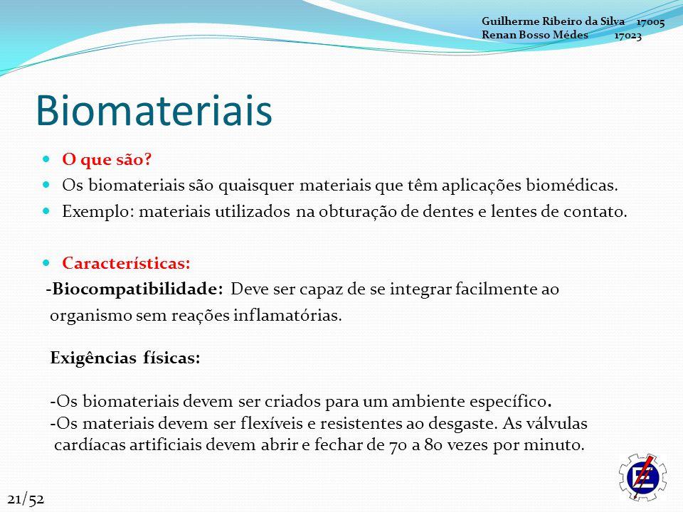 Biomateriais O que são? Os biomateriais são quaisquer materiais que têm aplicações biomédicas. Exemplo: materiais utilizados na obturação de dentes e