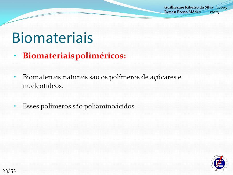 Biomateriais Biomateriais poliméricos: Biomateriais naturais são os polímeros de açúcares e nucleotídeos. Esses polímeros são poliaminoácidos. Guilher