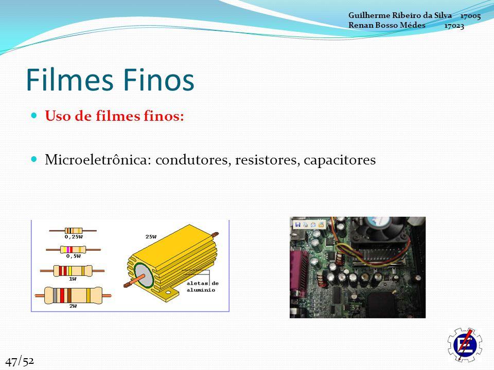 Filmes Finos Uso de filmes finos: Microeletrônica: condutores, resistores, capacitores Guilherme Ribeiro da Silva 17005 Renan Bosso Médes 17023 47/52