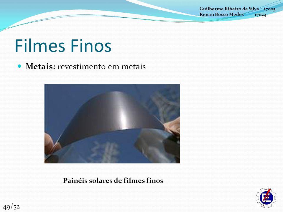 Filmes Finos Metais: revestimento em metais Painéis solares de filmes finos Guilherme Ribeiro da Silva 17005 Renan Bosso Médes 17023 49/52
