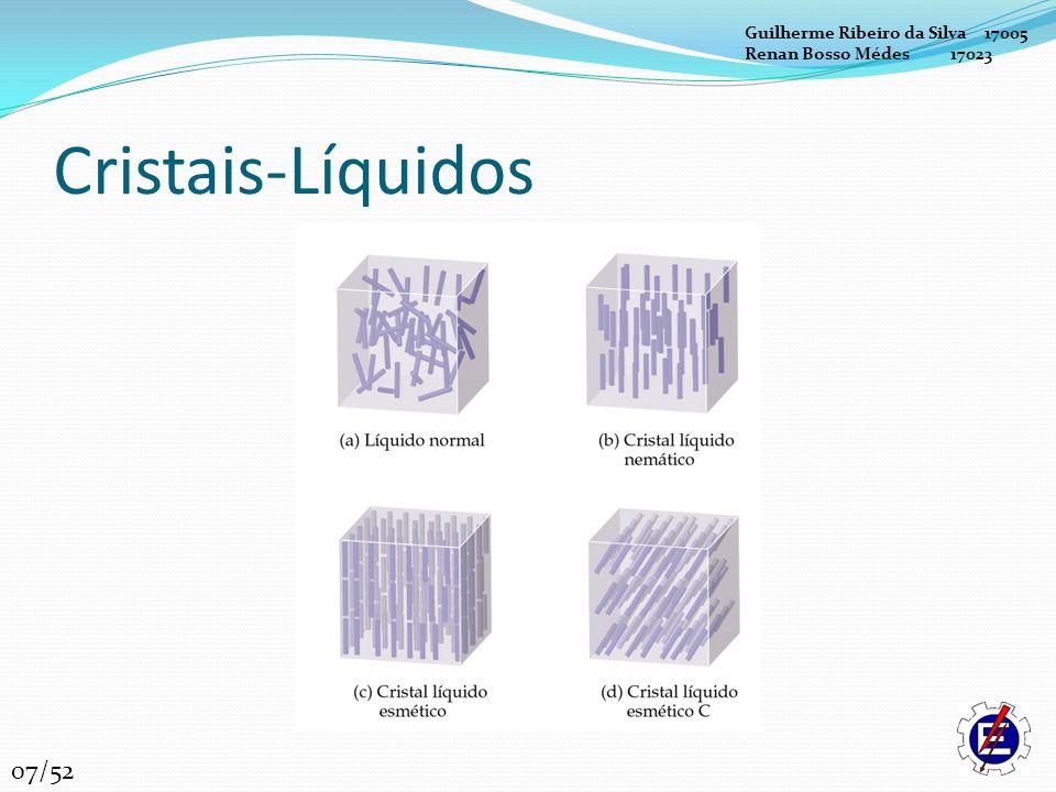 Cristais-Líquidos Cristais-líquidos esméticos: normalmente contêm ligações C=N ou N=N e anéis de benzeno.
