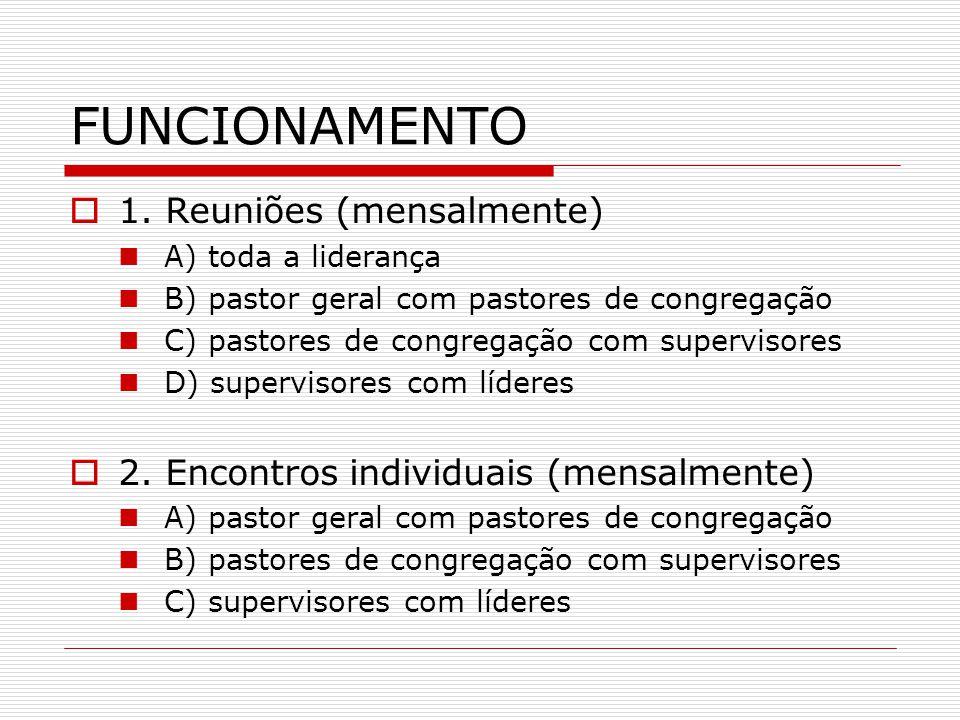 FUNCIONAMENTO  1. Reuniões (mensalmente) A) toda a liderança B) pastor geral com pastores de congregação C) pastores de congregação com supervisores