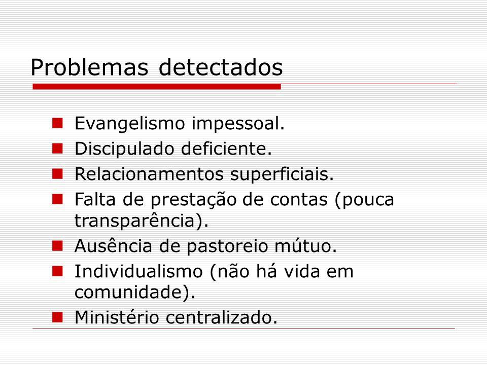 Problemas detectados Evangelismo impessoal. Discipulado deficiente. Relacionamentos superficiais. Falta de prestação de contas (pouca transparência).