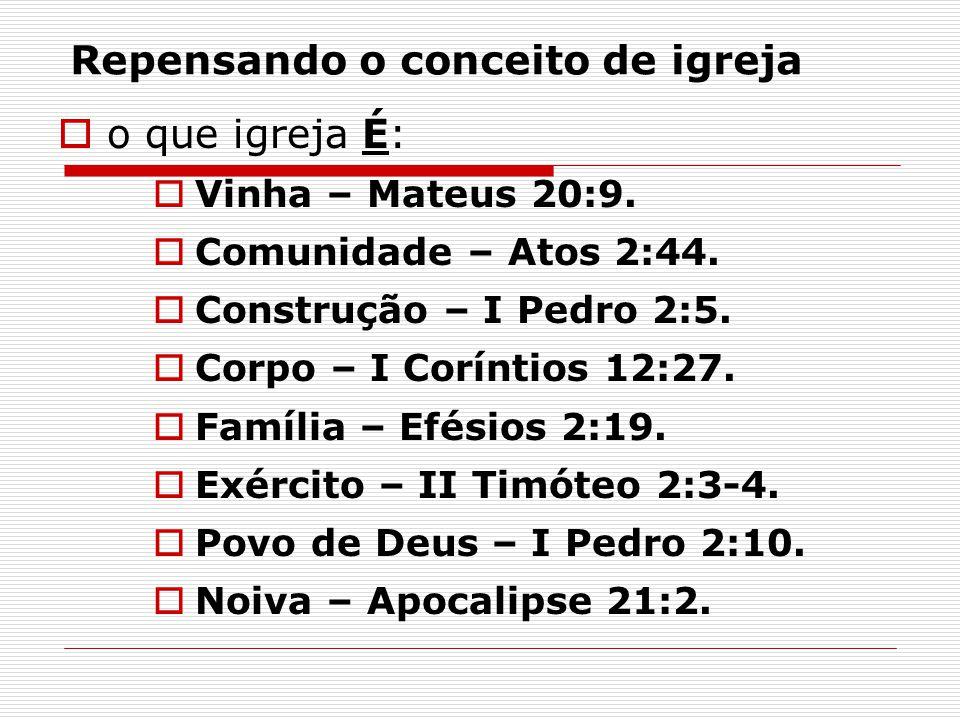 Repensando o conceito de igreja  o que igreja É:  Vinha – Mateus 20:9.  Comunidade – Atos 2:44.  Construção – I Pedro 2:5.  Corpo – I Coríntios 1