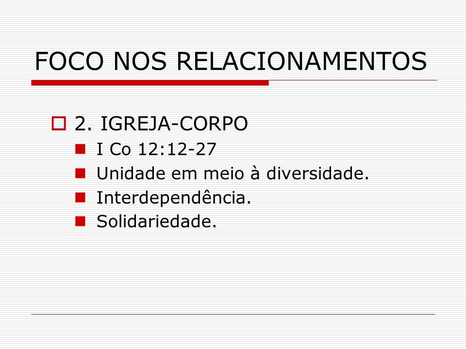 FOCO NOS RELACIONAMENTOS  2. IGREJA-CORPO I Co 12:12-27 Unidade em meio à diversidade. Interdependência. Solidariedade.