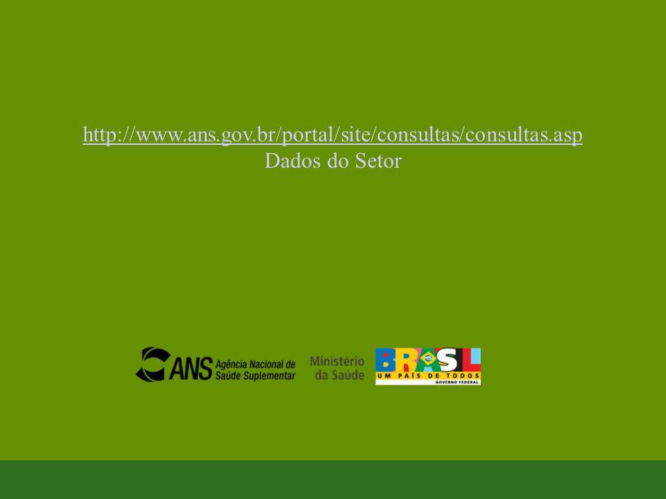 http://www.ans.gov.br/portal/site/consultas/consultas.asp http://www.ans.gov.br/portal/site/consultas/consultas.asp Dados do Setor