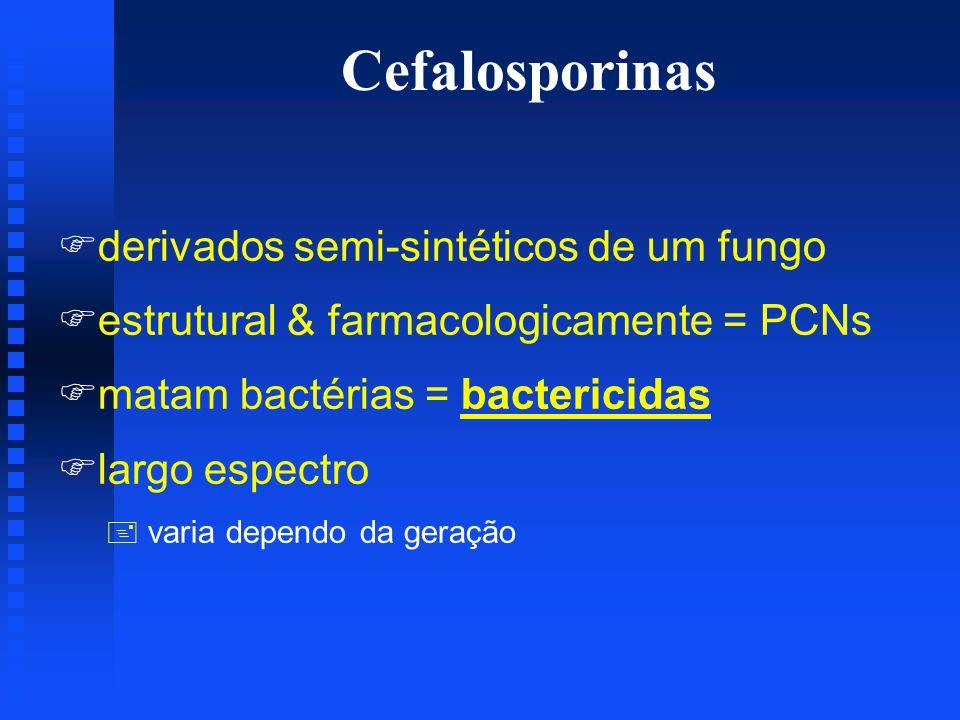 Cefalosporinas Fderivados semi-sintéticos de um fungo Festrutural & farmacologicamente = PCNs Fmatam bactérias = bactericidas Flargo espectro + varia