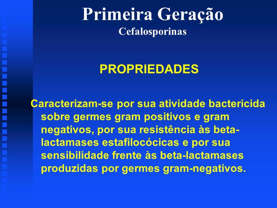 Primeira Geração Cefalosporinas PROPRIEDADES Caracterizam-se por sua atividade bactericida sobre germes gram positivos e gram negativos, por sua resis