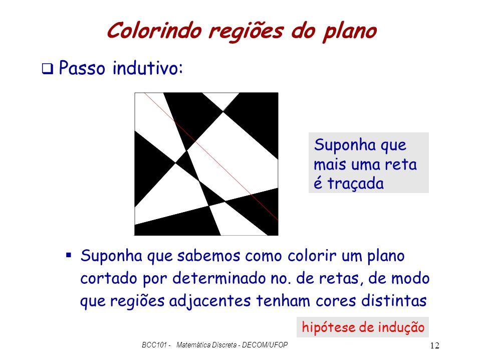 Colorindo regiões do plano  Passo indutivo:  Suponha que sabemos como colorir um plano cortado por determinado no. de retas, de modo que regiões adj