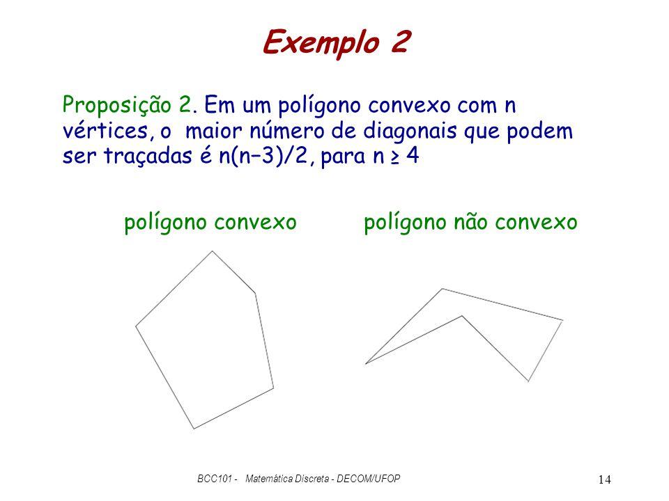 Exemplo 2 BCC101 - Matemática Discreta - DECOM/UFOP 14 polígono convexopolígono não convexo Proposição 2. Em um polígono convexo com n vértices, o mai