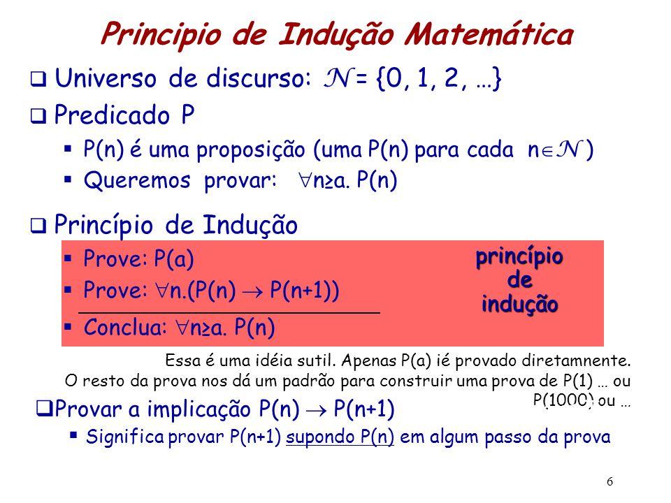  Universo de discurso: N = {0, 1, 2, …}  Predicado P  P(n) é uma proposição (uma P(n) para cada n  N )  Queremos provar:  n≥a. P(n)  Princípio