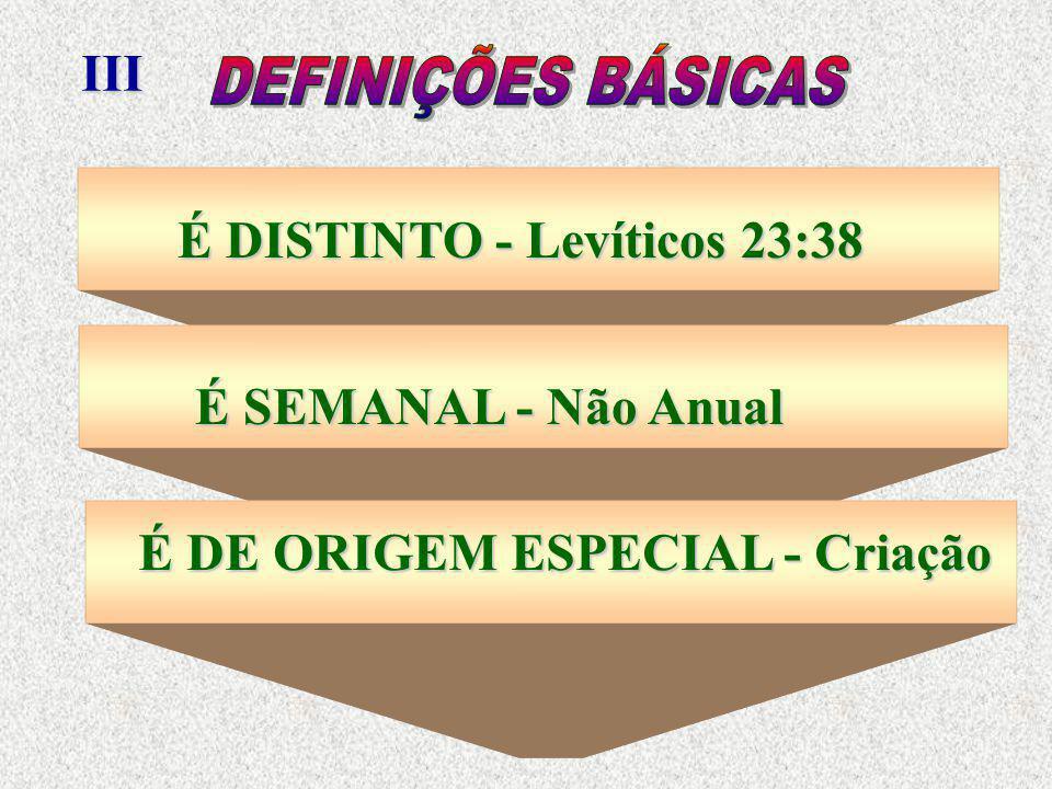 III É DISTINTO - Levíticos 23:38 É SEMANAL - Não Anual É DE ORIGEM ESPECIAL - Criação
