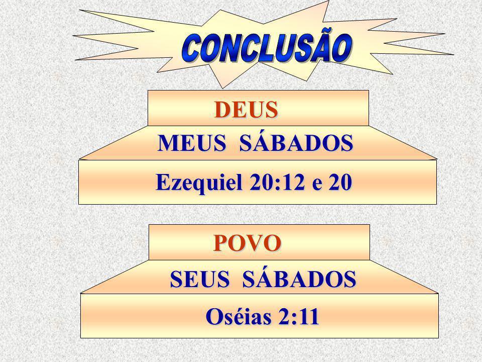DEUS MEUS SÁBADOS Ezequiel 20:12 e 20 POVO SEUS SÁBADOS Oséias 2:11
