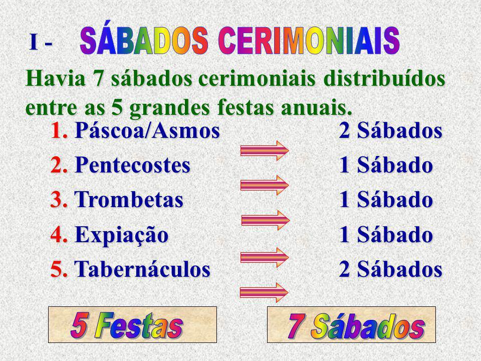 Havia 7 sábados cerimoniais distribuídos entre as 5 grandes festas anuais. I - 1. Páscoa/Asmos 2 Sábados 2. Pentecostes 1 Sábado 3. Trombetas1 Sábado