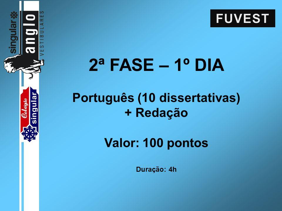 2ª FASE – 1º DIA Português (10 dissertativas) + Redação Valor: 100 pontos Duração: 4h